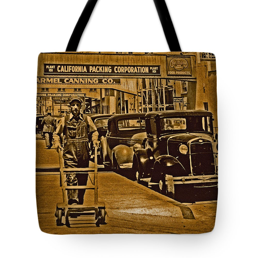 Monterey Tote Bag featuring the digital art California Packing Corporation by Joseph Coulombe