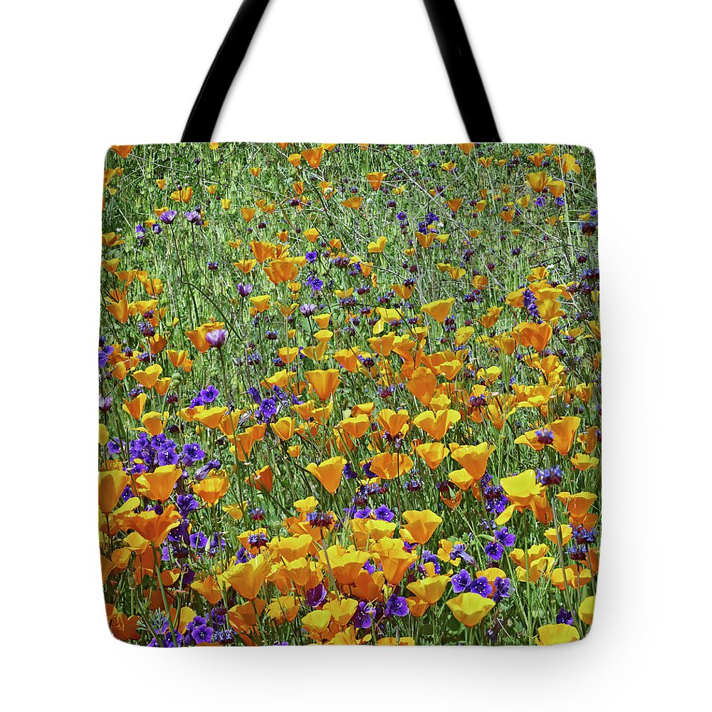 Antelope Valley Tote Bag featuring the photograph California Poppies And Desert Blubells by Tim Fitzharris
