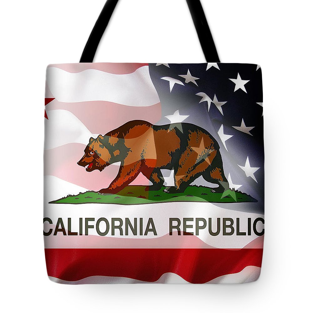 california Flag Tote Bag featuring the digital art California Republic Within The United States by Daniel Hagerman