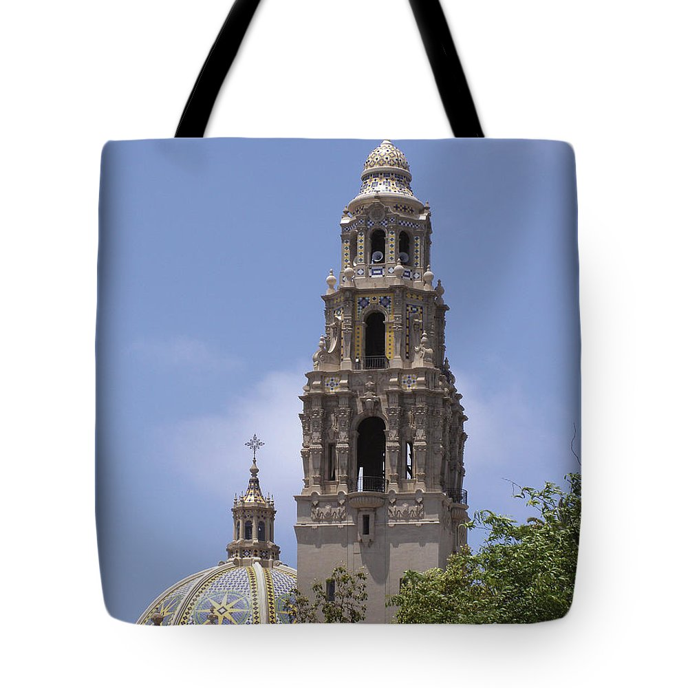 California Tower Tote Bag featuring the photograph California Tower, Balboa Park, San Diego, California by Denise Strahm
