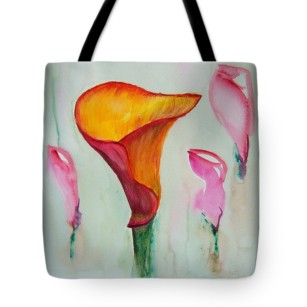 Calla Lilly Tote Bag featuring the painting Calla Lilly by Elaine Duras