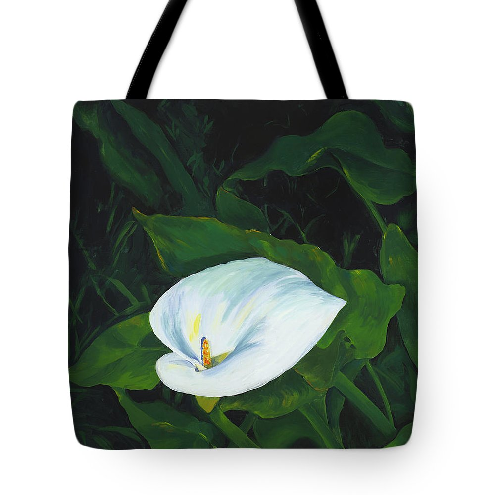 Calla Lily Tote Bag featuring the painting Calla Lily In The Garden Of Diego And Frida by Judy Swerlick