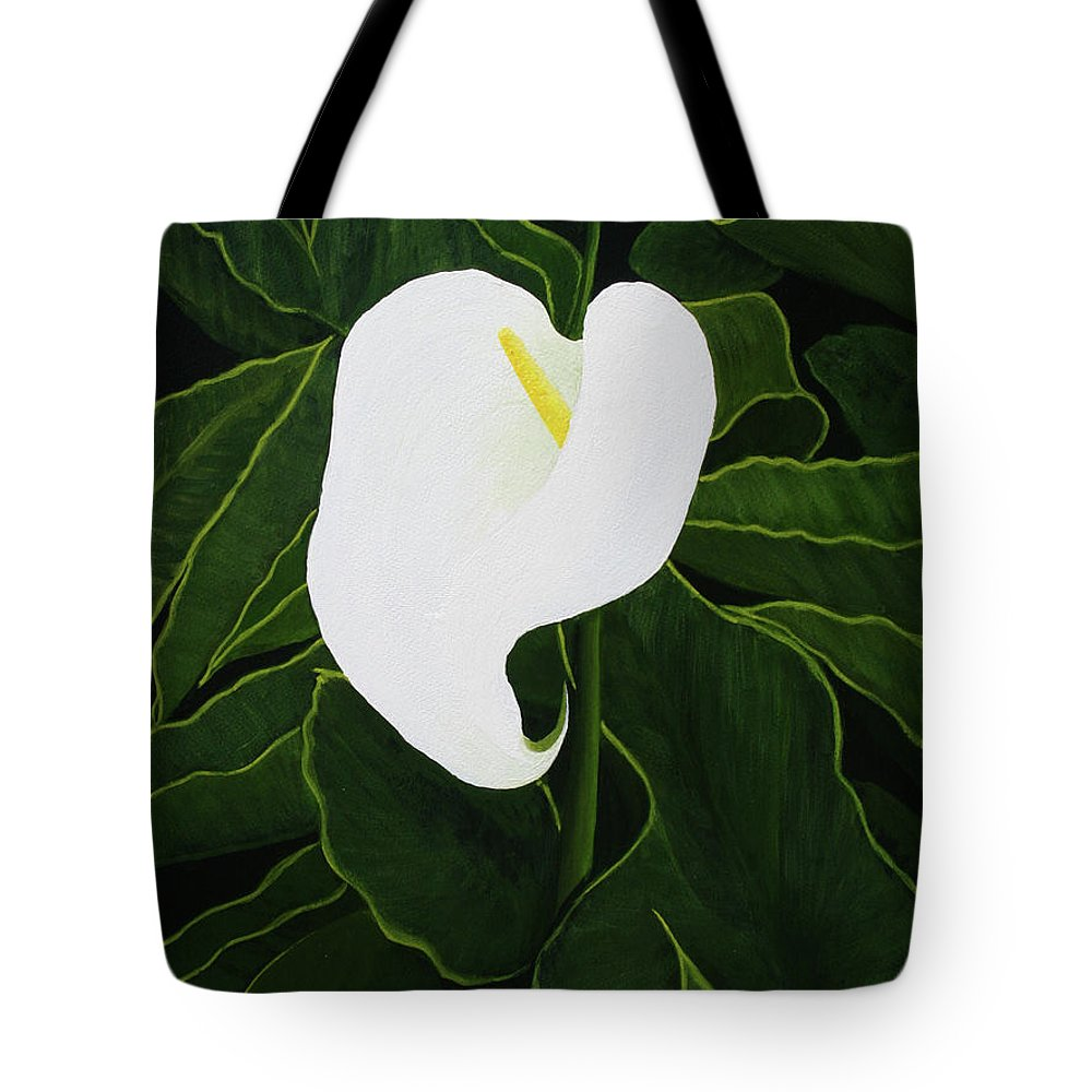 Calla Tote Bag featuring the painting Calla Lily by Mike Robles