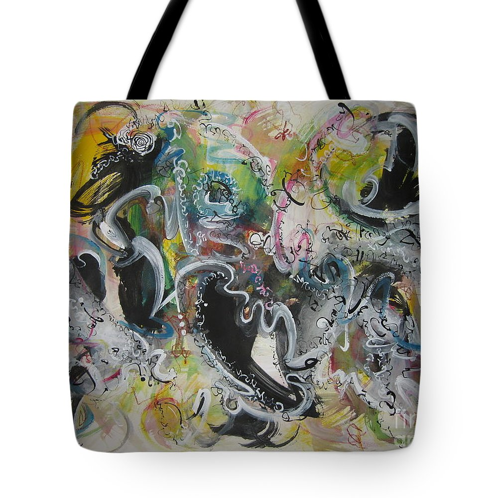 Yellow Green Gray Black Art Tote Bag featuring the painting Calligraphy Abstract 03 by Seon-Jeong Kim