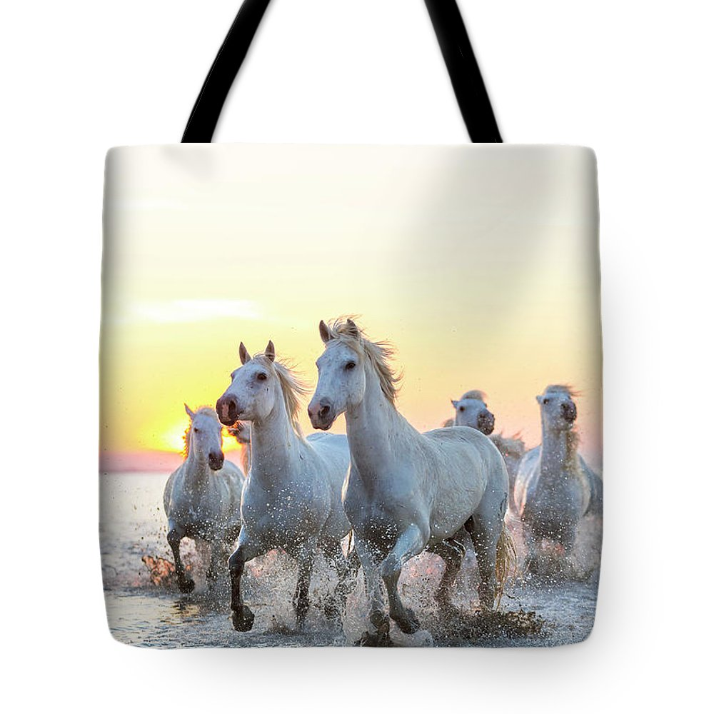 Animal Themes Tote Bag featuring the photograph Camargue White Horses Running In Water by Peter Adams
