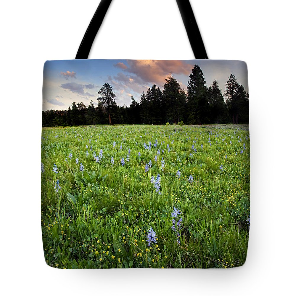 Wildflowers Tote Bag featuring the photograph Camas Sunset by Mike Dawson