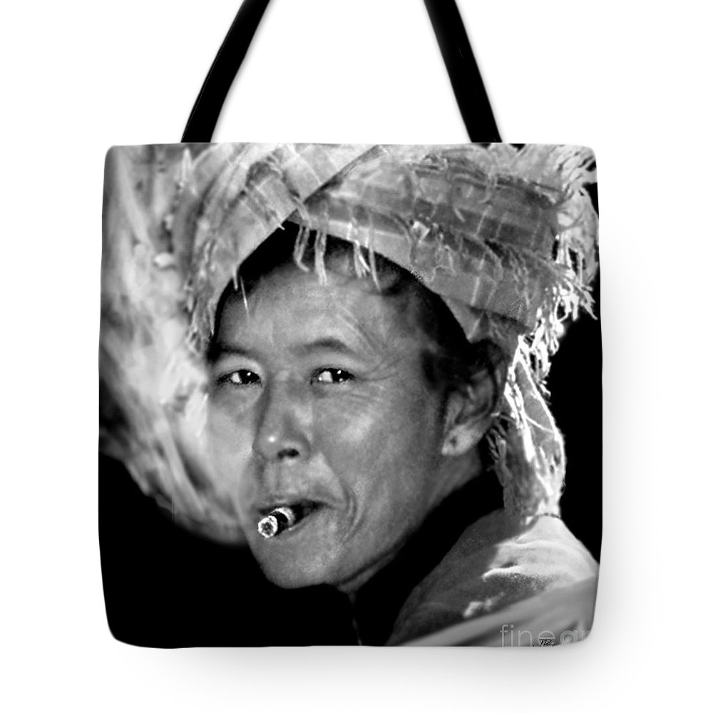 Smoker Tote Bag featuring the photograph Cambodian Lady Smoker by Jennie Breeze