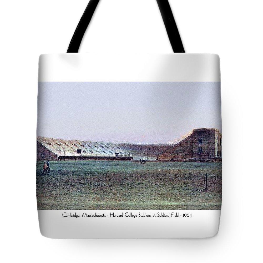 Stadium Tote Bag featuring the digital art Cambridge Massachusetts - Harvard College Stadium At Soldiers Field - 1904 by John Madison