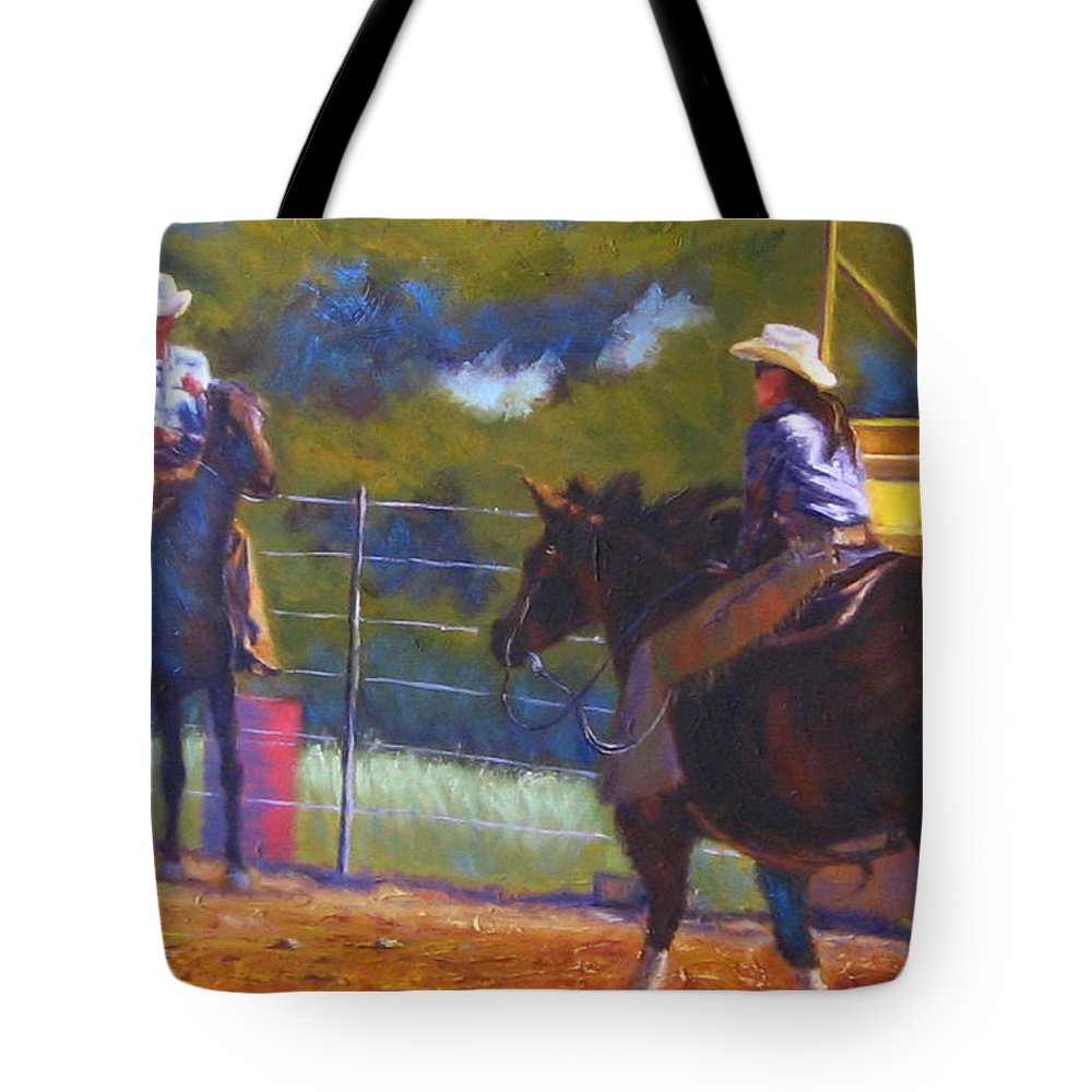 Cowboys Tote Bag featuring the painting Camden Cowboy And Cowgirl by Diane Quee