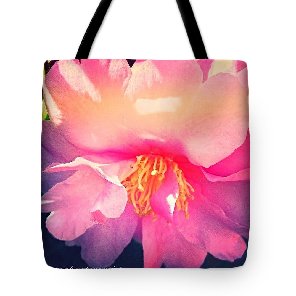 Camellia Confection Tote Bag featuring the photograph Camellia Confection by Anna Porter