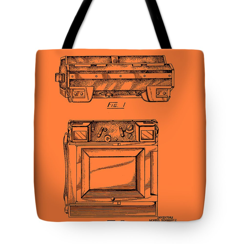 Patent Tote Bag featuring the drawing Camera Patent 1953 by Mountain Dreams