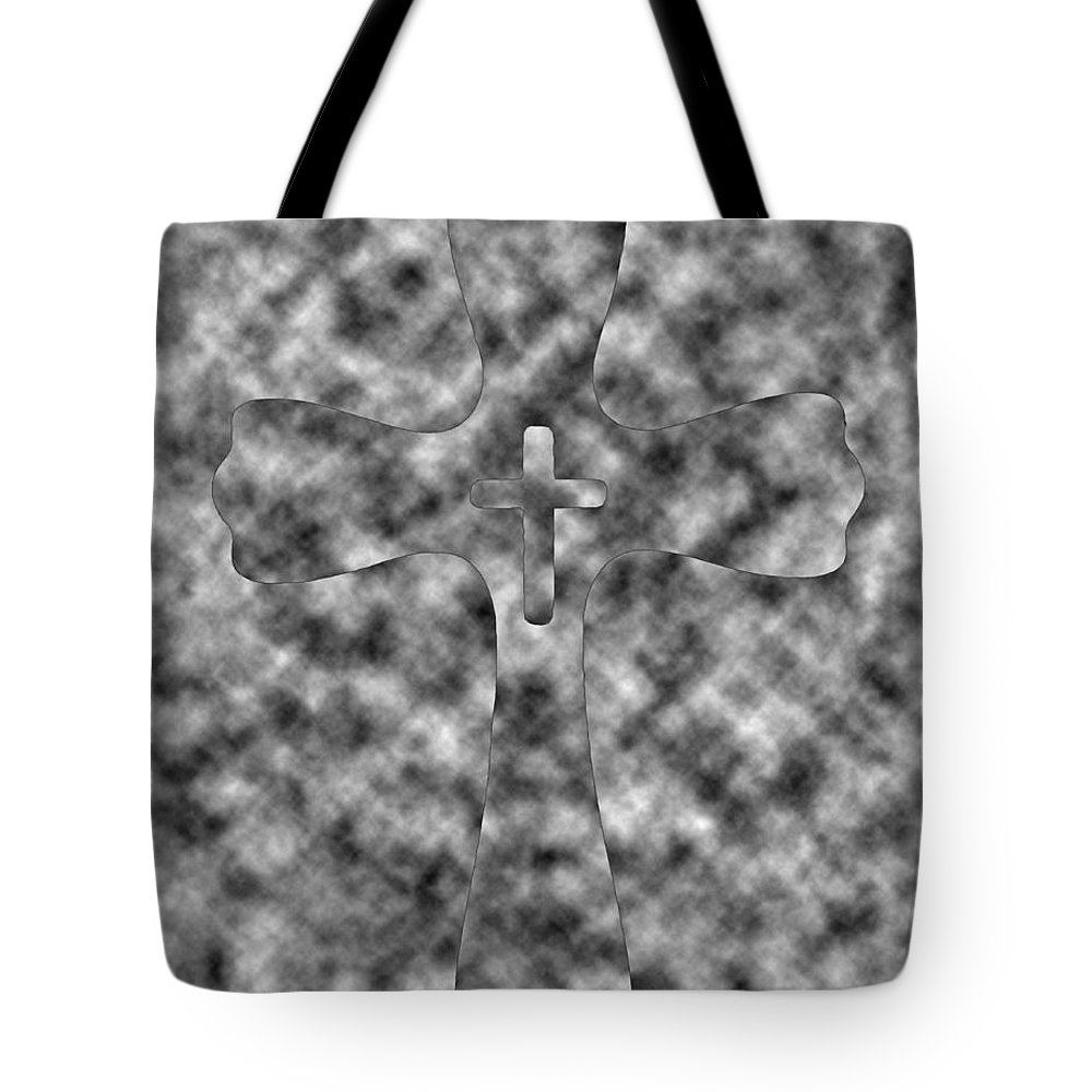 Black And White Tote Bag featuring the digital art Camouflage Gray Black And White Cross by Adri Turner