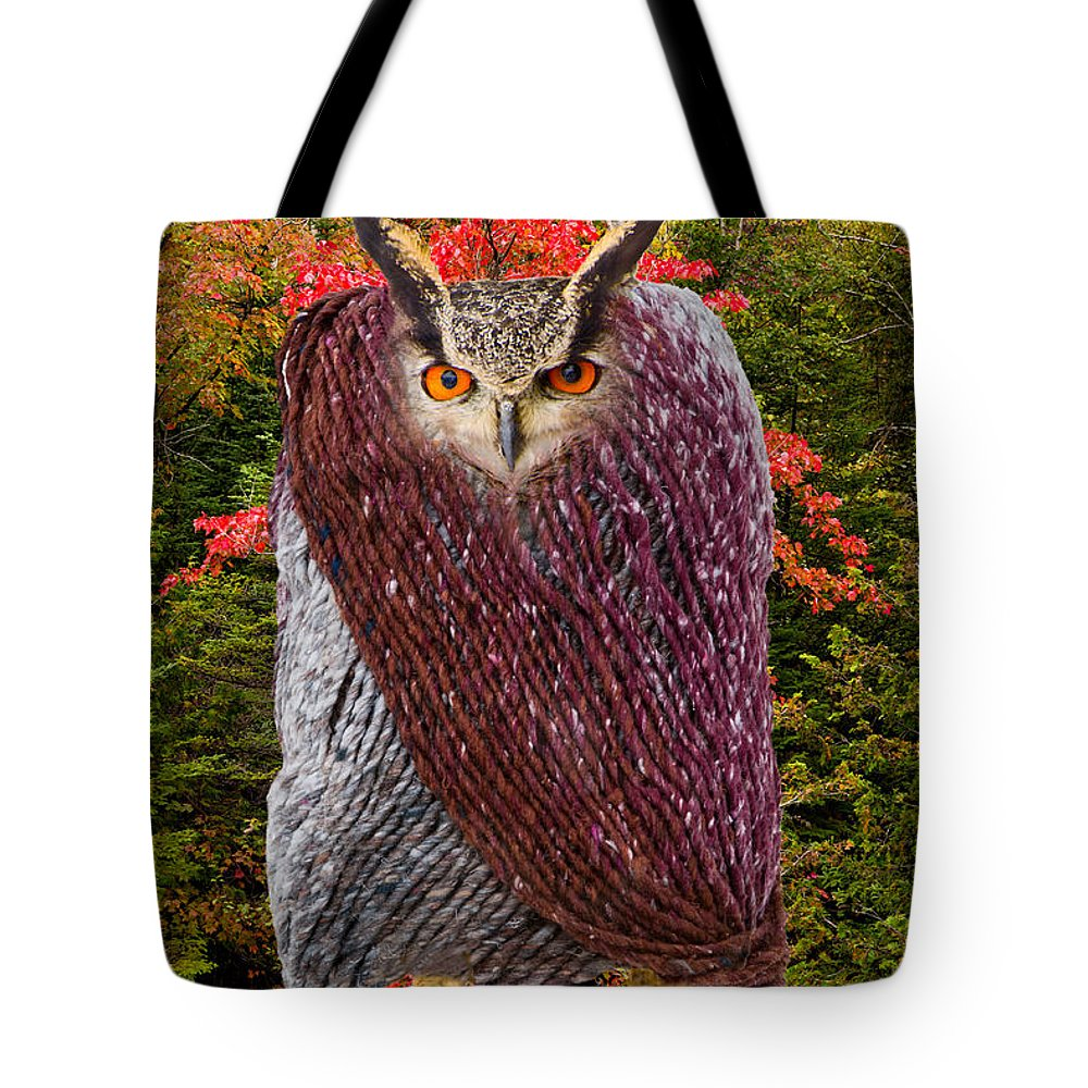 Red Tote Bag featuring the photograph Camouflaged Owl by Les Palenik