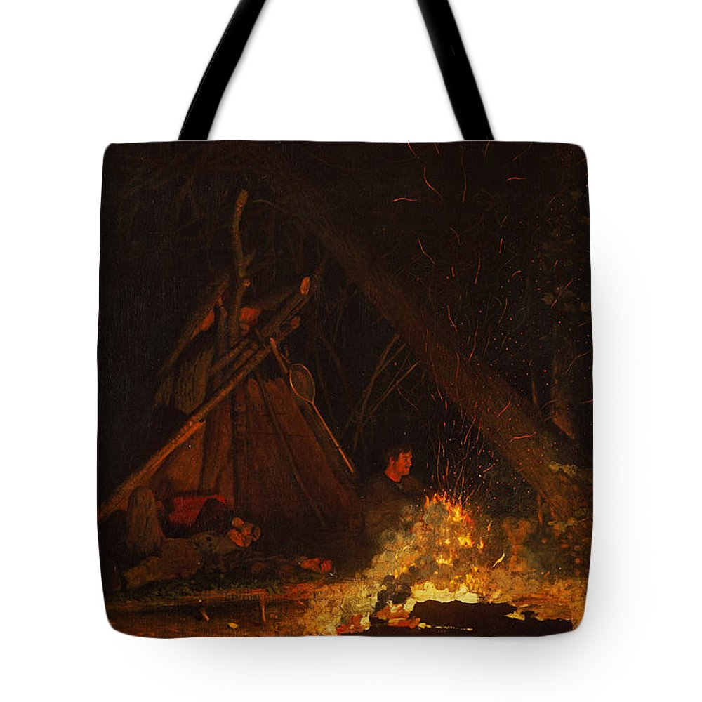 Winslow Homer Tote Bag featuring the painting Camp Fire by Winslow Homer