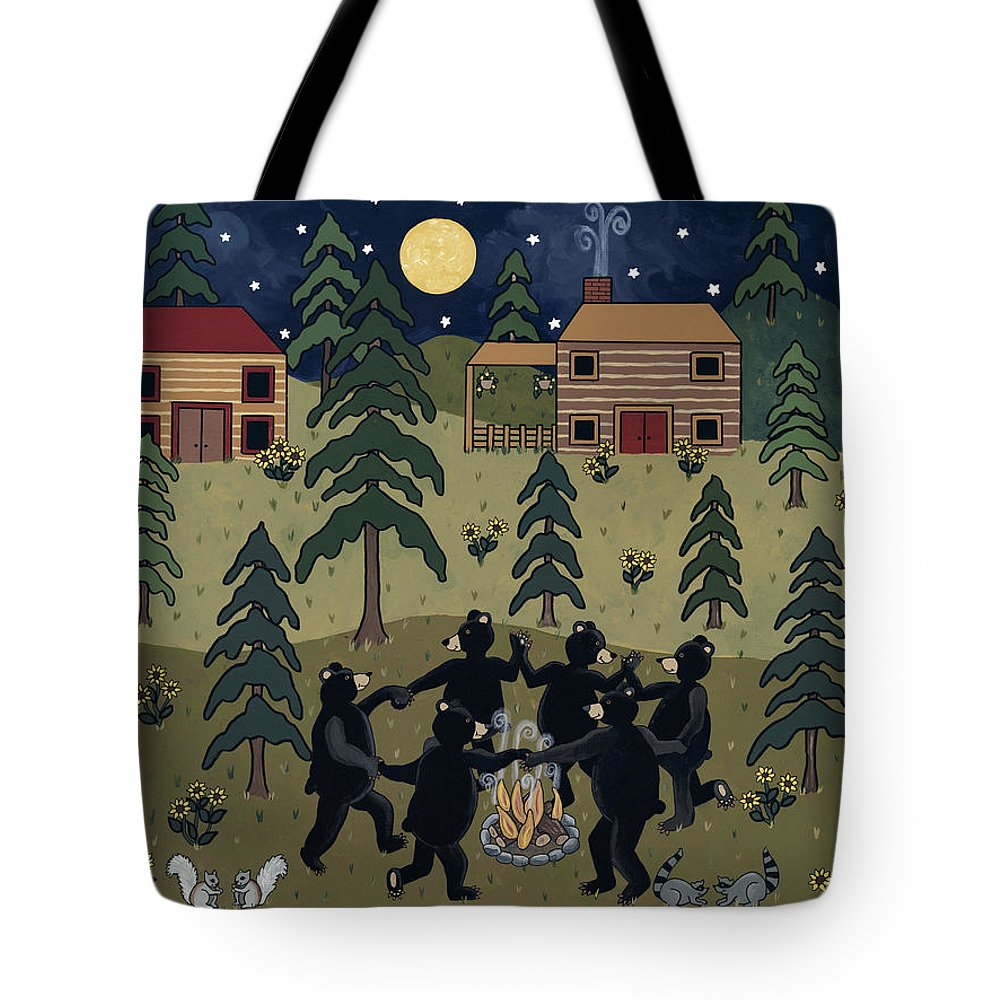 Camping Tote Bag featuring the painting Campfire Dance by Medana Gabbard