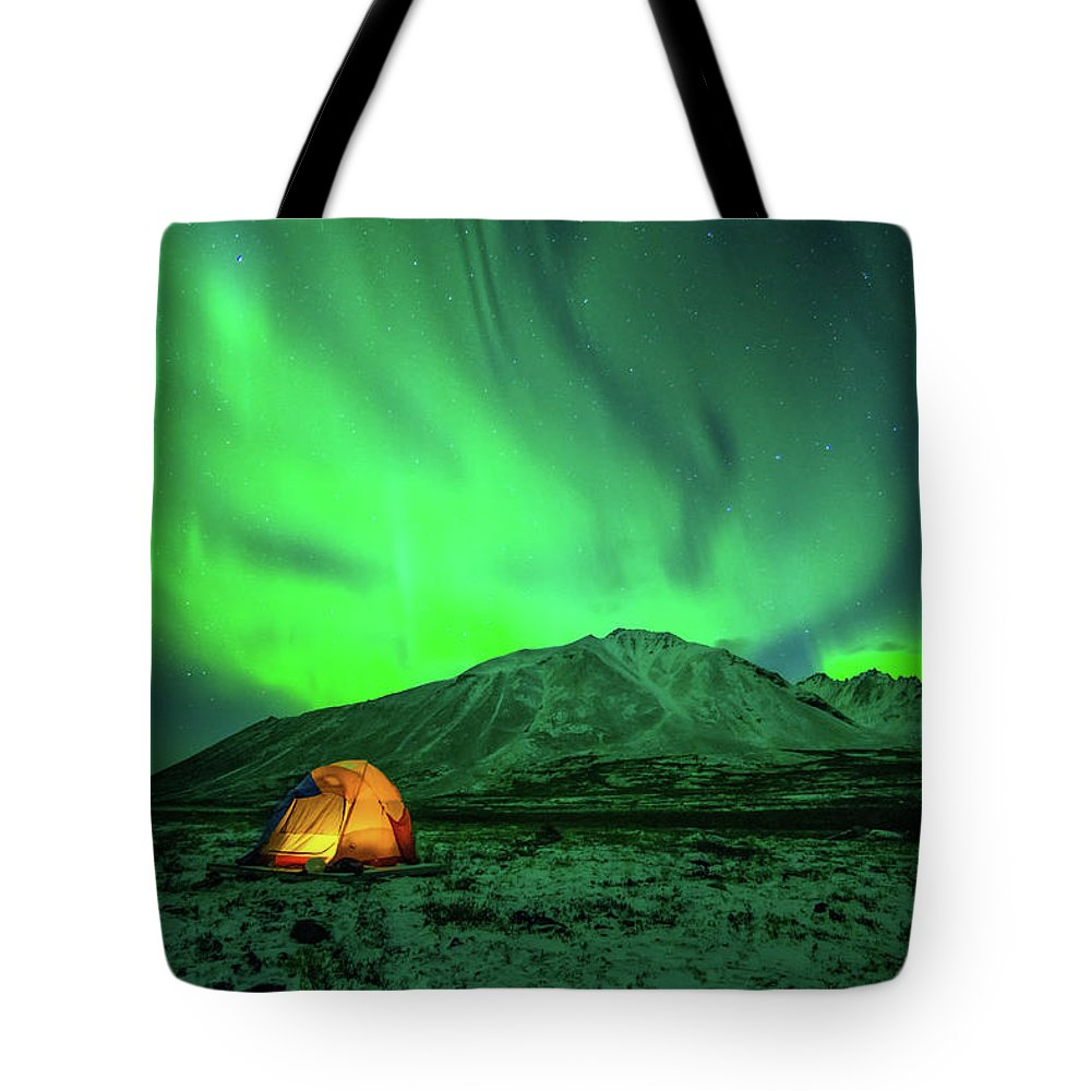 Camping Tote Bag featuring the photograph Camping Under Northern Lights by Piriya Photography