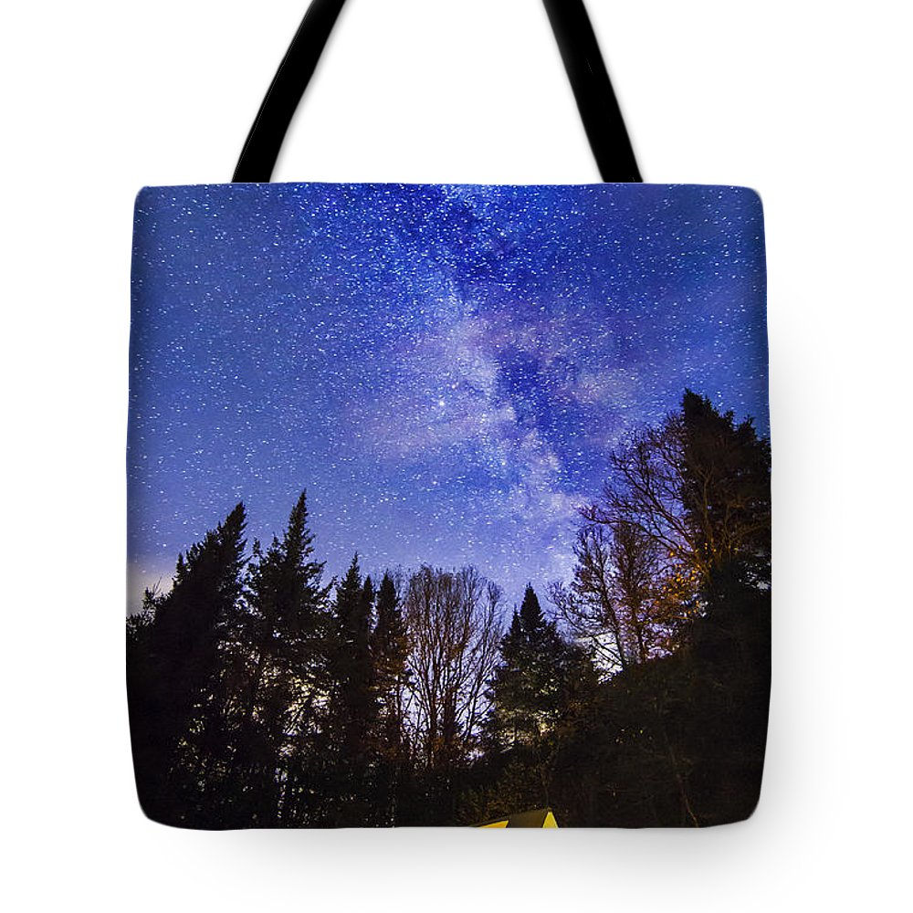 Laurentian Tote Bag featuring the photograph Camping Under The Milky Way by Mircea Costina Photography