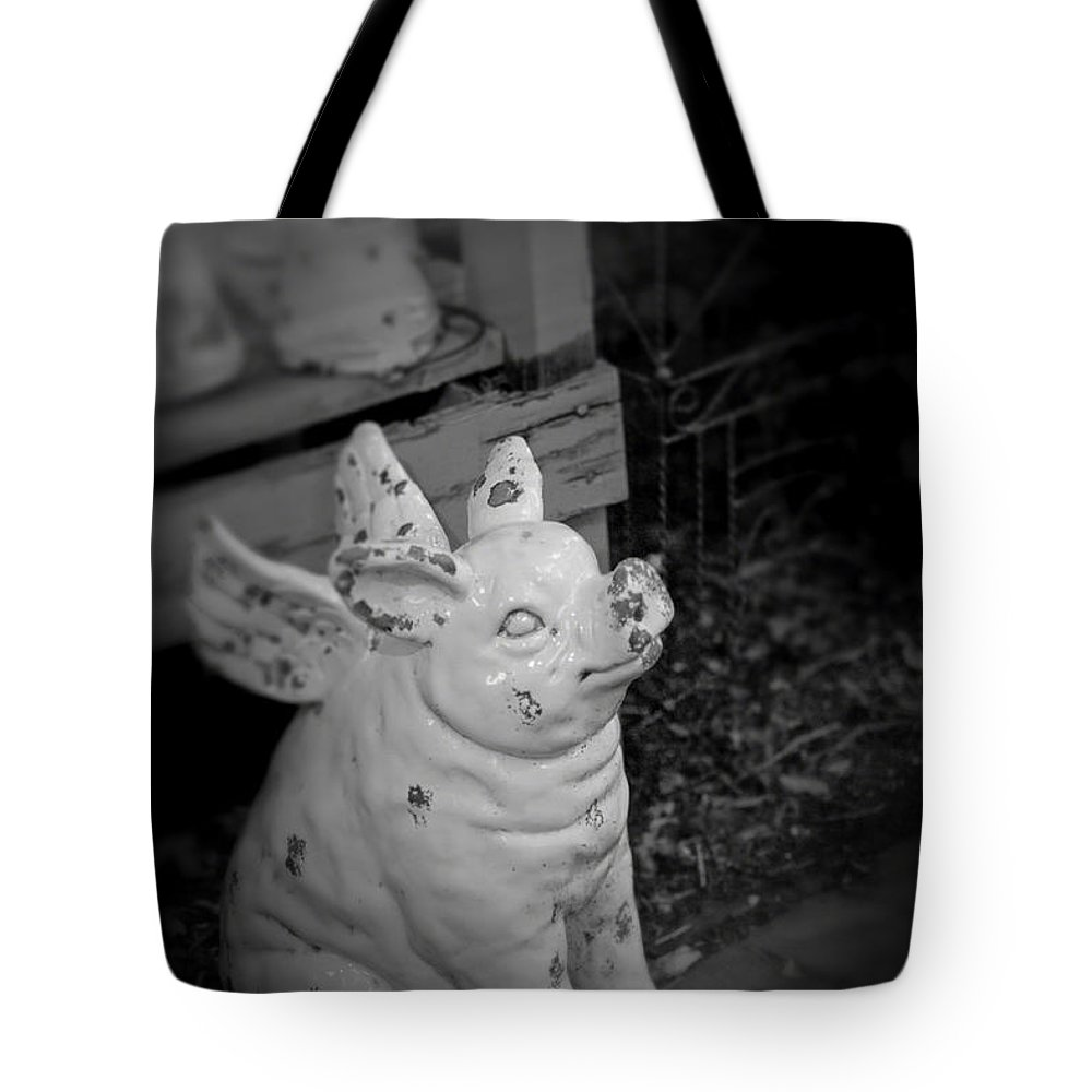 Pig Tote Bag featuring the photograph Can A Pig Fly? by Kristi Swift