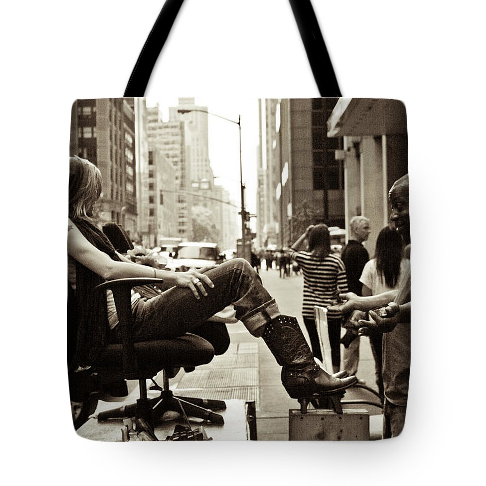 Nyc Tote Bag featuring the photograph Can I Help You by John McGraw