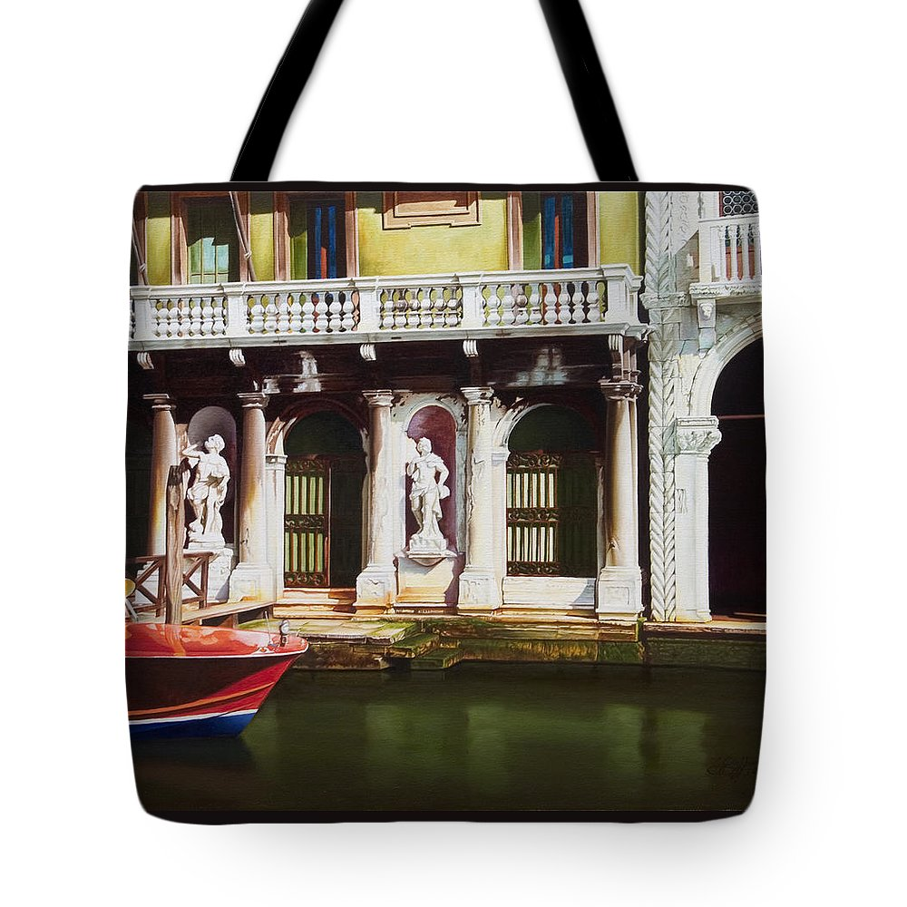 Venice Canal Tote Bag featuring the painting Canal Scene Venice Italy by Gary Hernandez