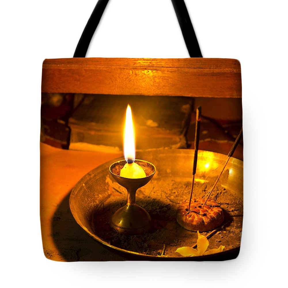 Abstract Tote Bag featuring the photograph Candle And Incense Sticks by Image World