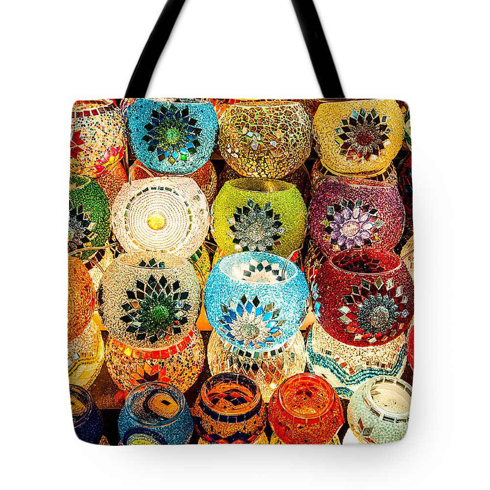 Oriental Tote Bag featuring the photograph Candle Holders by Kim Pin Tan