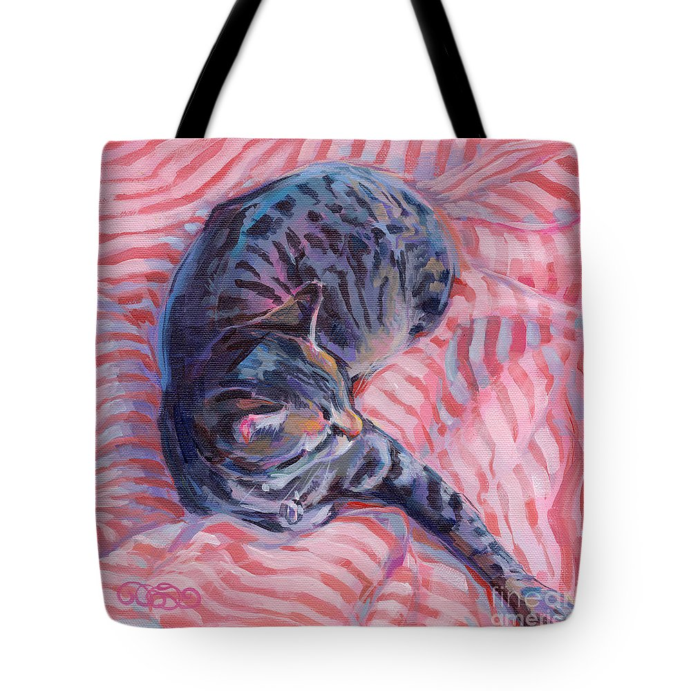 Tabby Cat Tote Bag featuring the painting Candy Cane by Kimberly Santini
