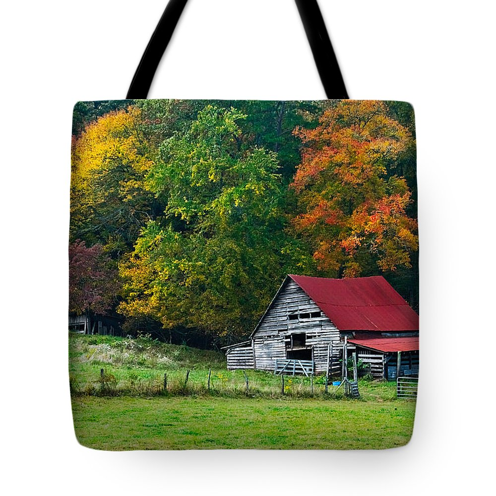 Appalachia Tote Bag featuring the photograph Candy Mountain by Debra and Dave Vanderlaan
