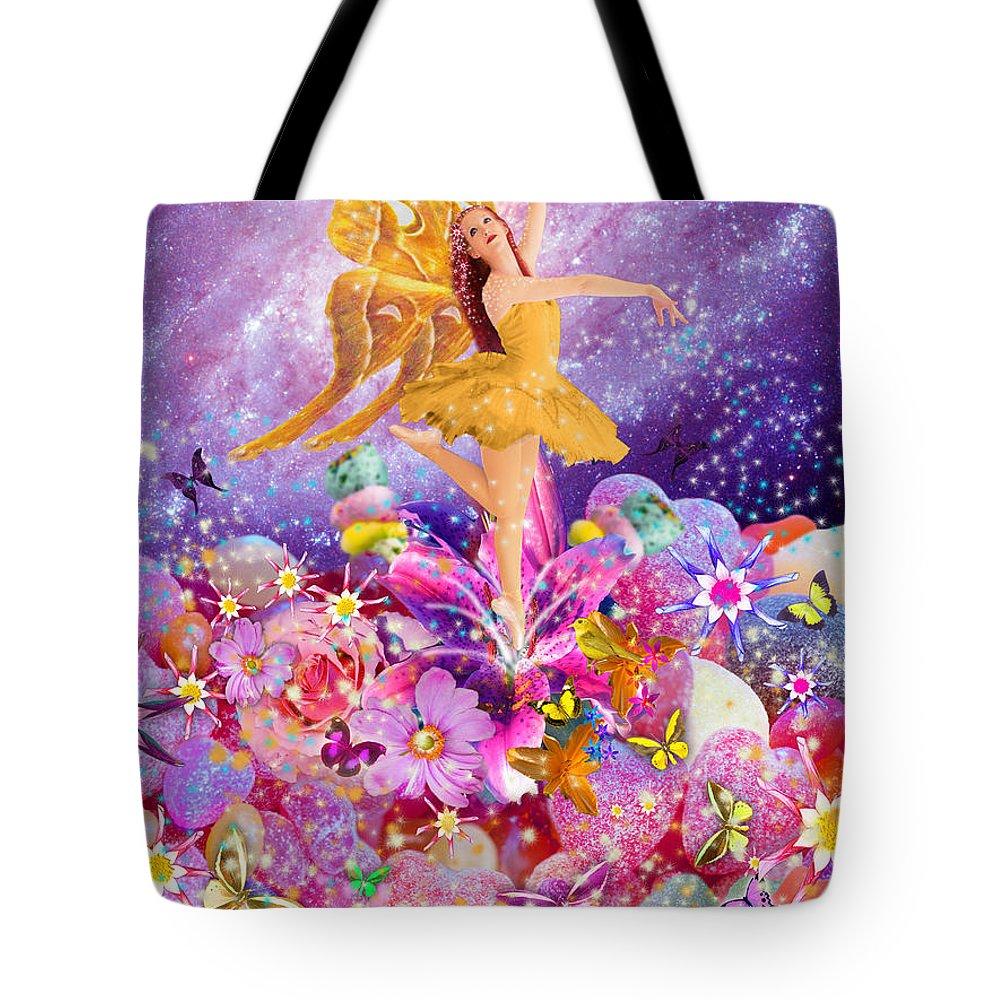Alixandra Mullins Tote Bag featuring the digital art Candy Sugarplum Fairy by Alixandra Mullins