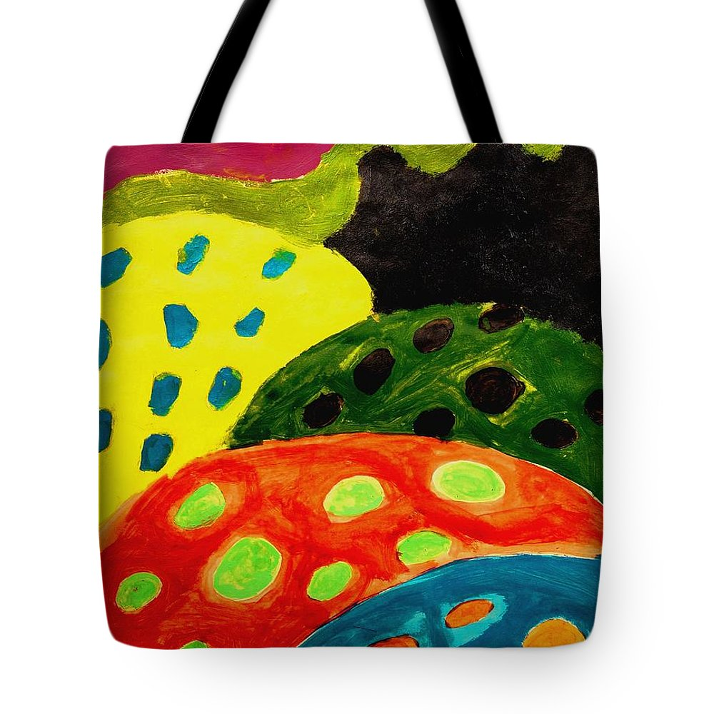 Abstract Tote Bag featuring the painting Candy Land by Zodiak Paredes