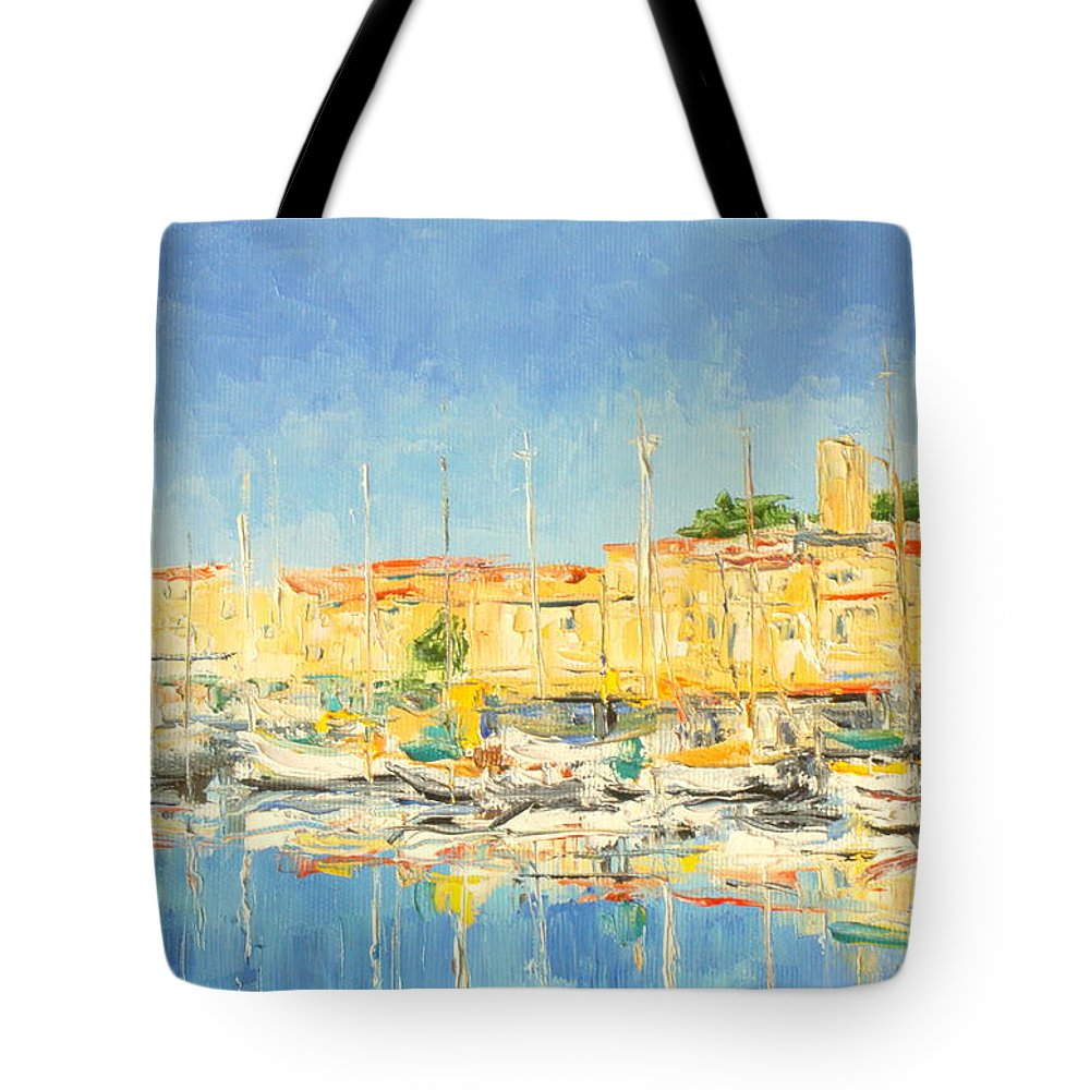 Cannes Tote Bag featuring the painting Cannes Harbour by Luke Karcz