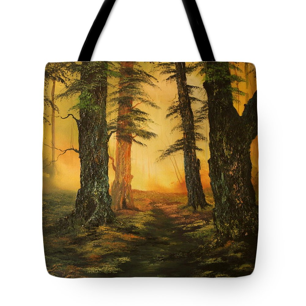 Cannock Chase Forest Tote Bag featuring the painting Cannock Chase Forest In Sunlight by Jean Walker
