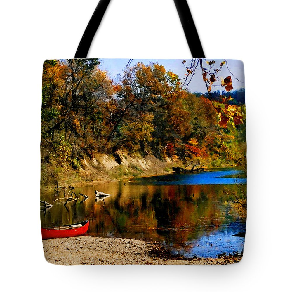 Autumn Tote Bag featuring the photograph Canoe On The Gasconade River by Steve Karol