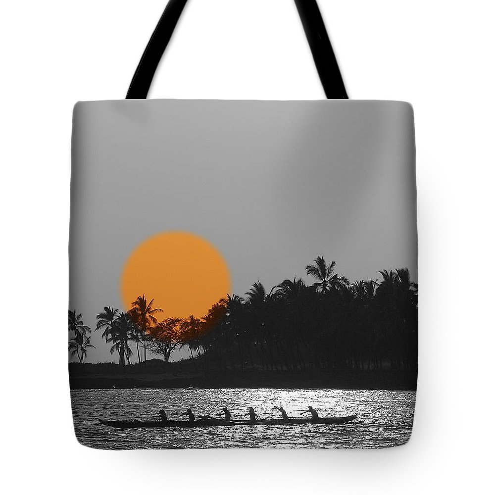 Sunsets Tote Bag featuring the photograph Canoe Ride In The Sunset by Athala Carole Bruckner