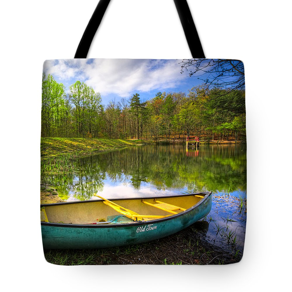 Appalachia Tote Bag featuring the photograph Canoeing At The Lake by Debra and Dave Vanderlaan
