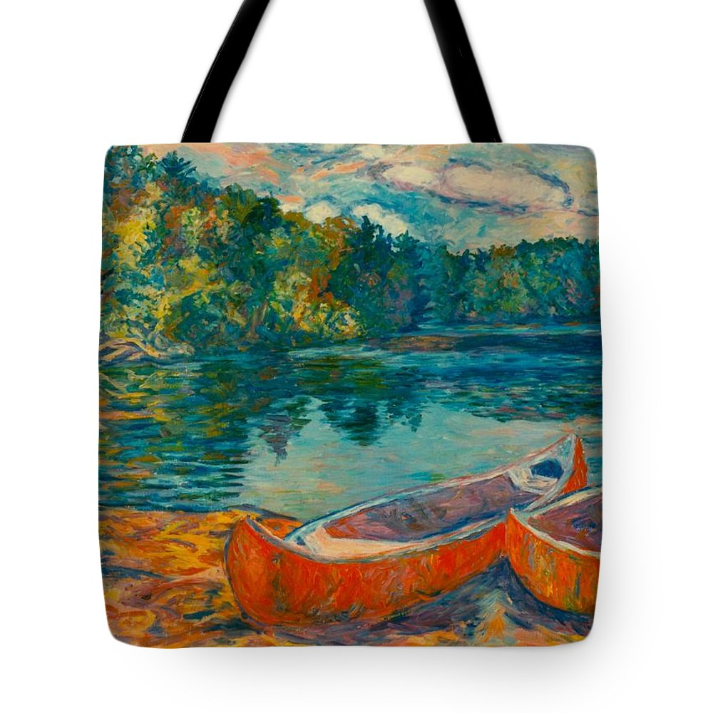 Landscape Tote Bag featuring the painting Canoes at Mountain Lake by Kendall Kessler