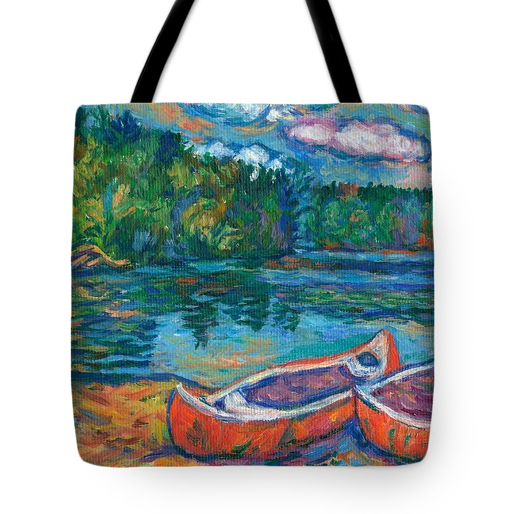 Landscape Tote Bag featuring the painting Canoes At Mountain Lake Sketch by Kendall Kessler