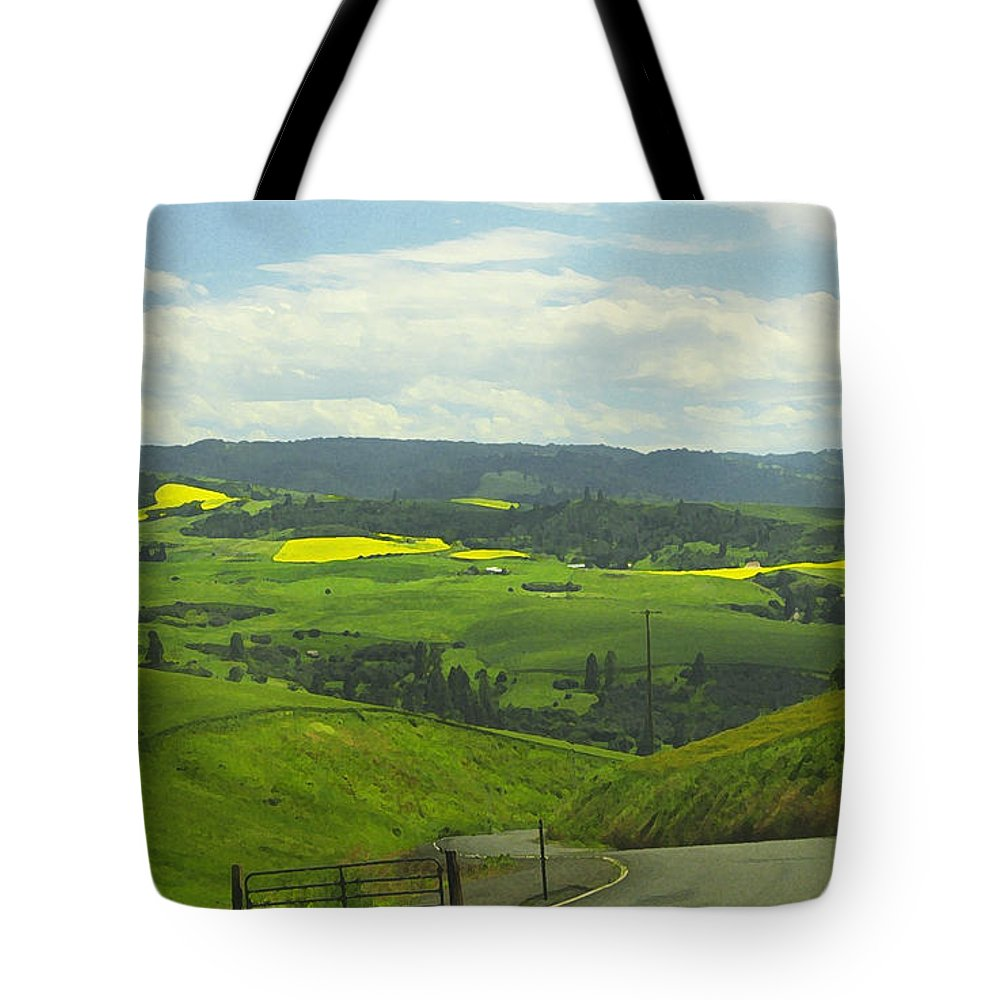 Canola Tote Bag featuring the photograph Canola Country Road by Anne Mott