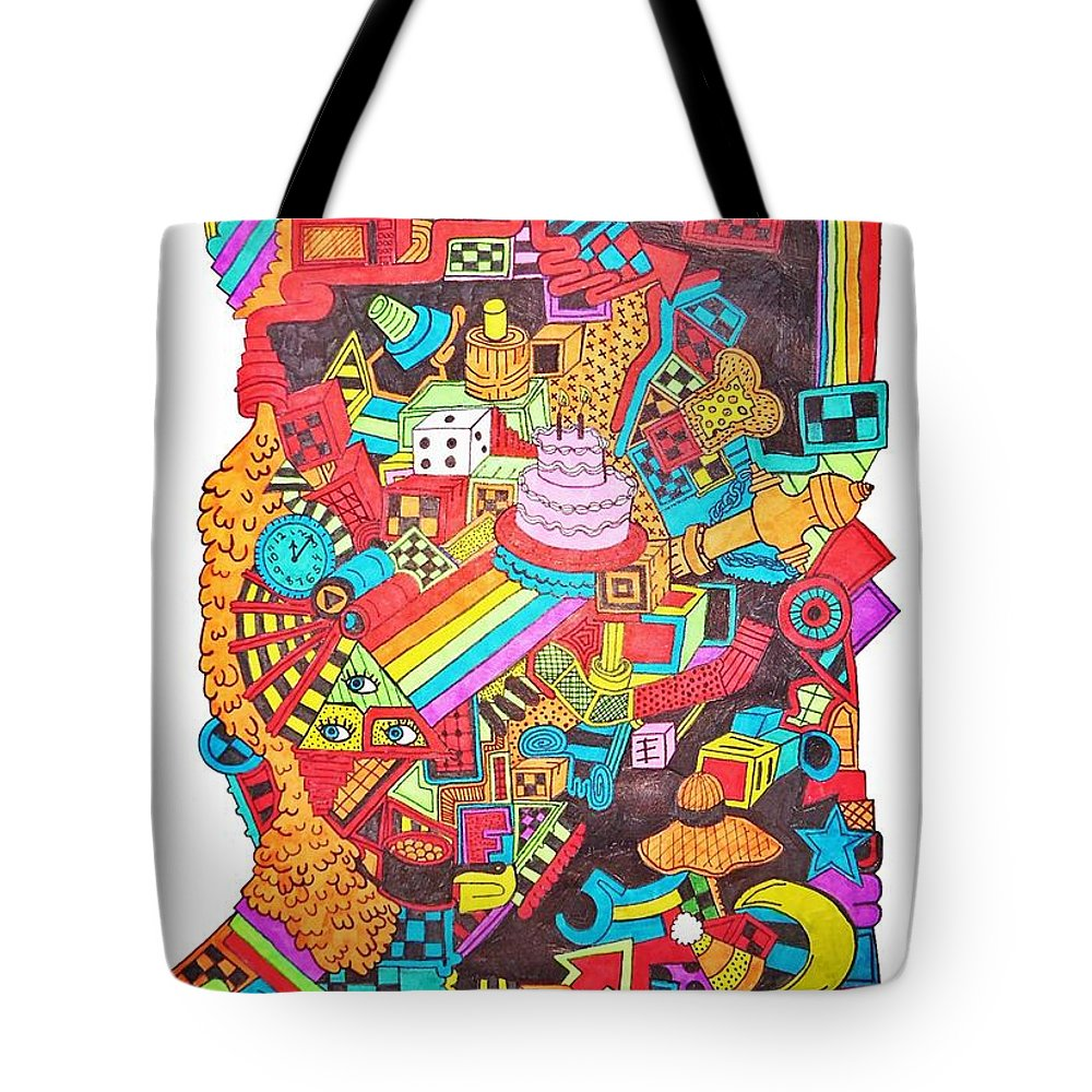 Rainbows Tote Bag featuring the drawing Can't Even by Chelsea Geldean