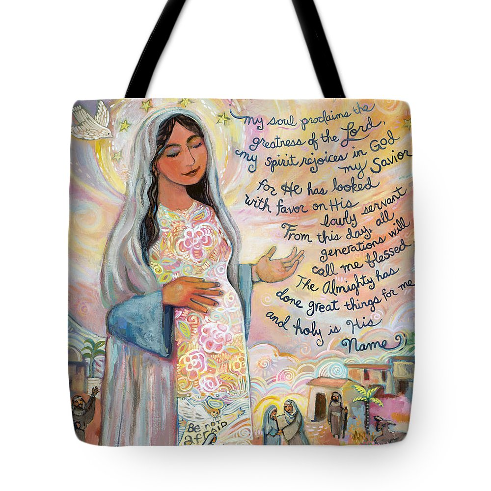 Jen Norton Tote Bag featuring the painting Canticle Of Mary by Jen Norton