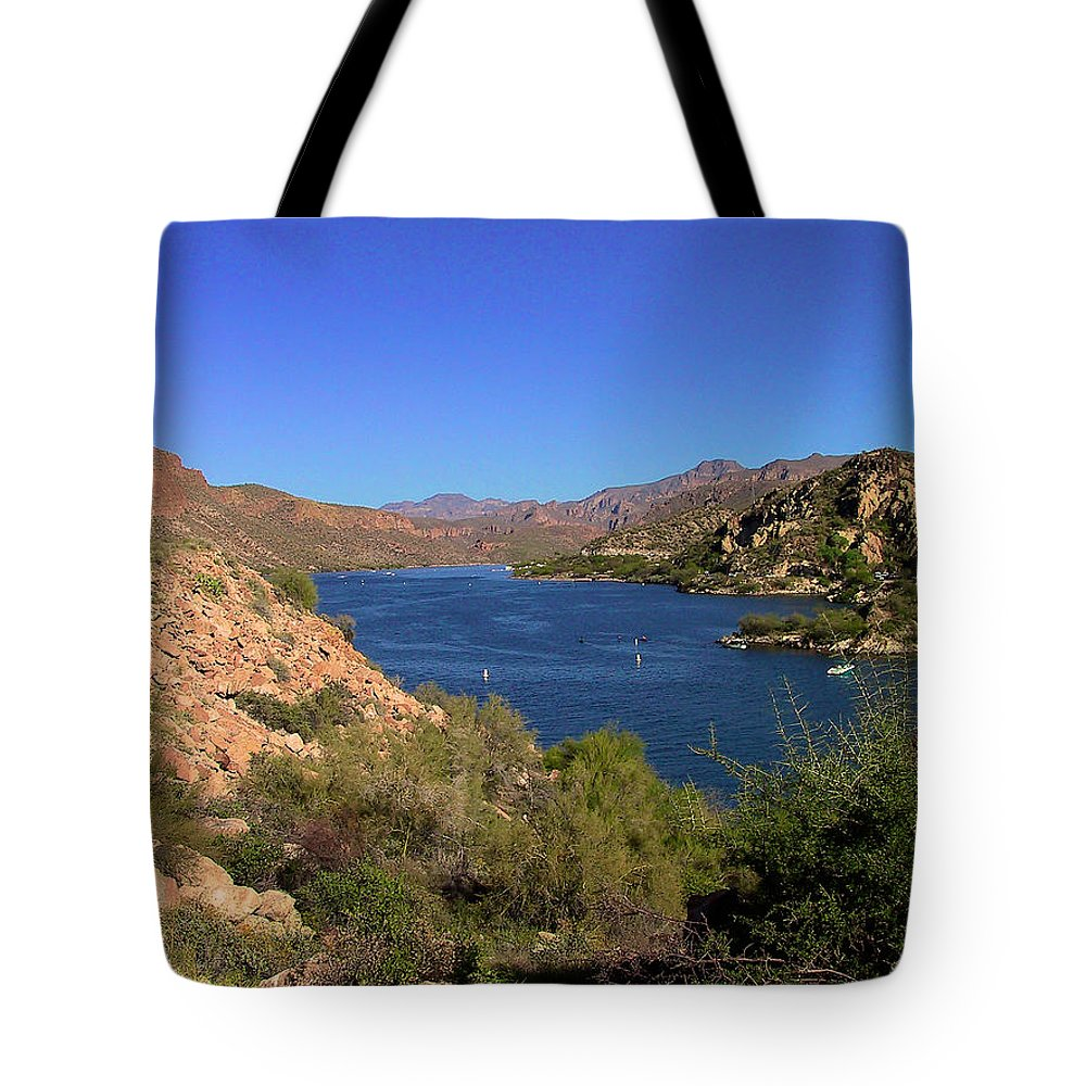 Canyon Lake Tote Bag featuring the photograph Canyon Lake by Richard J Cassato