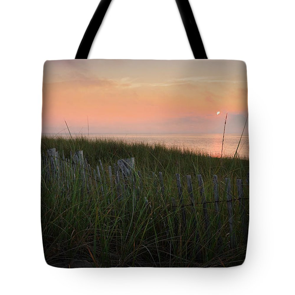 Cape Cod Tote Bag featuring the photograph Cape Cod Bay Sunset by Bill Wakeley