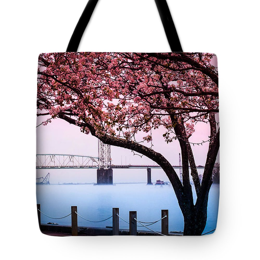 Riverscapes Tote Bag featuring the photograph Cape Fear Of Wilmington by Karen Wiles
