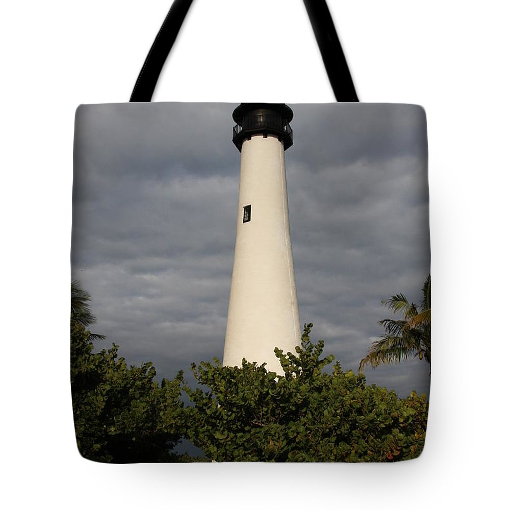 Cape Florida Tote Bag featuring the photograph Cape Florida Lighthouse by Christiane Schulze Art And Photography