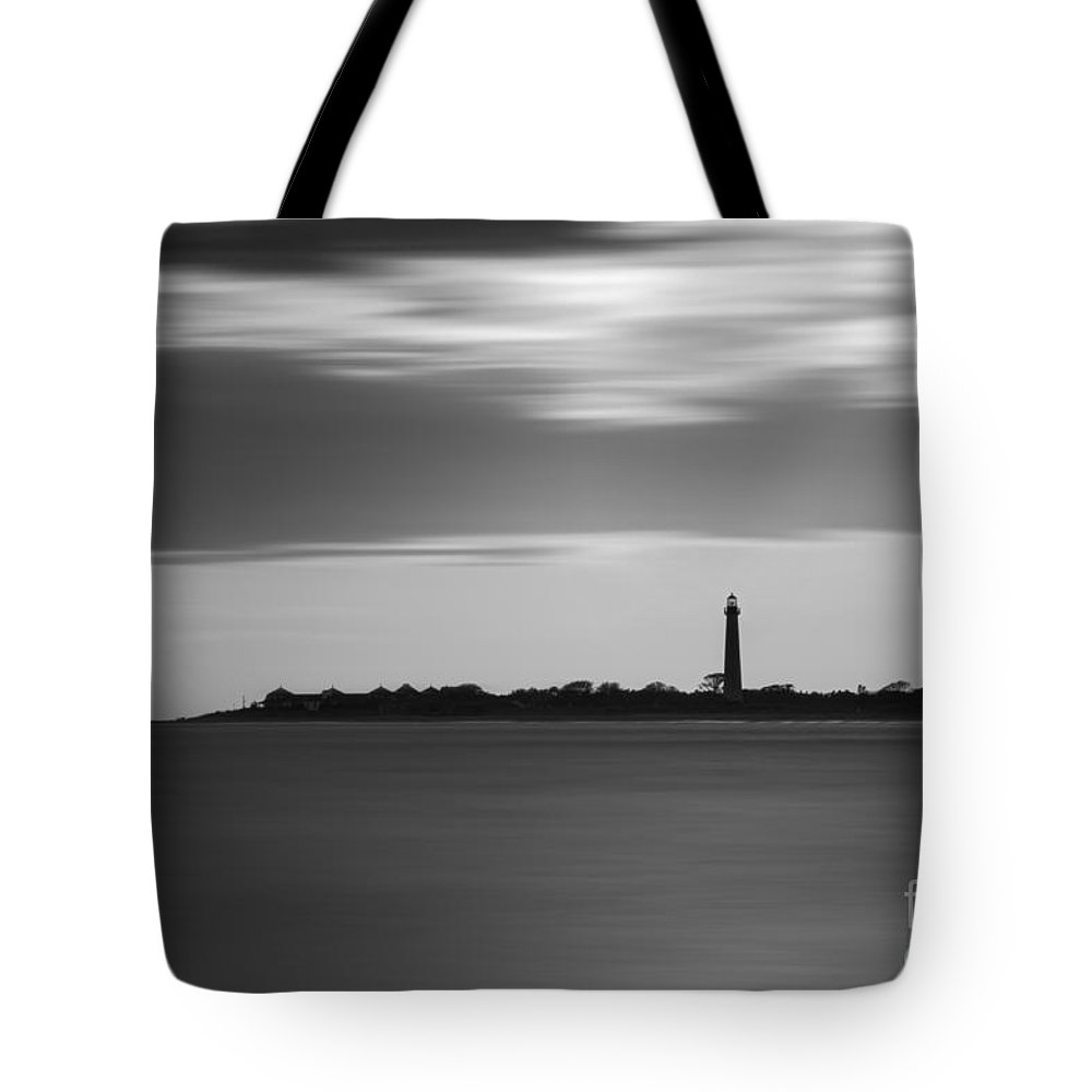 Cape May Tote Bag featuring the photograph Cape May Lighthouse Long Exposure Bw by Michael Ver Sprill