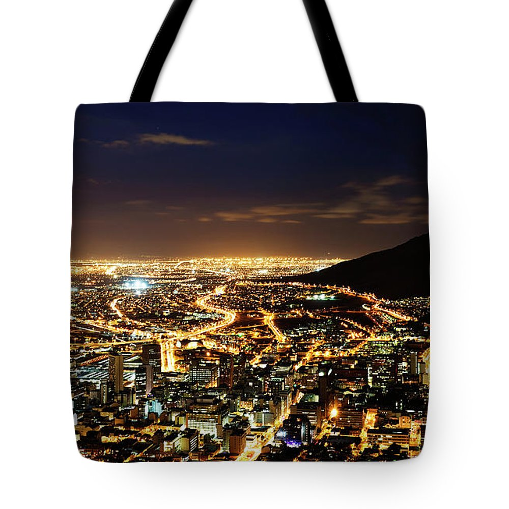 Scenics Tote Bag featuring the photograph Cape Town, South Africa By Night by Clicknique