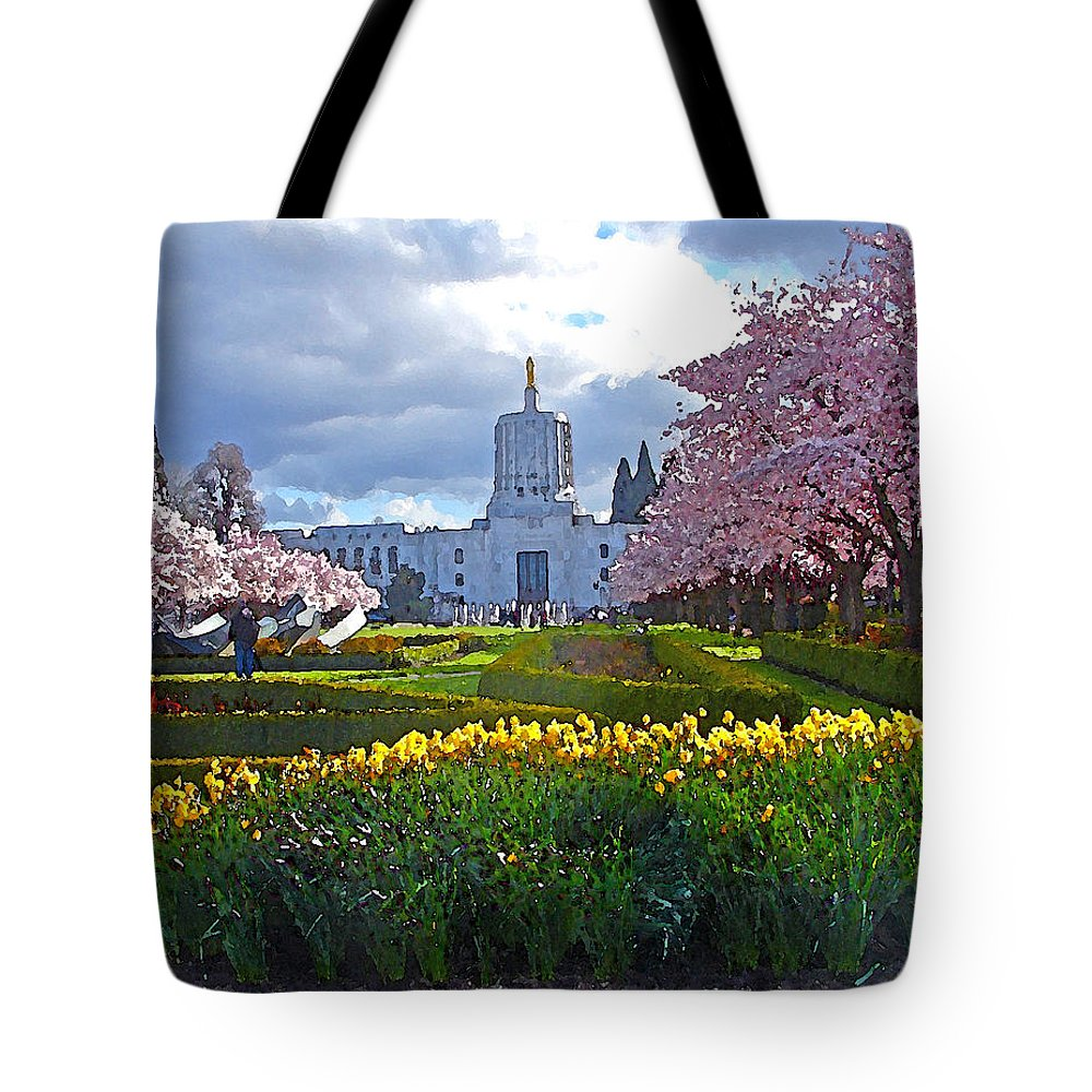 Cherry Trees Tote Bag featuring the digital art Capitol Mall In Bloom by Gary Olsen-Hasek