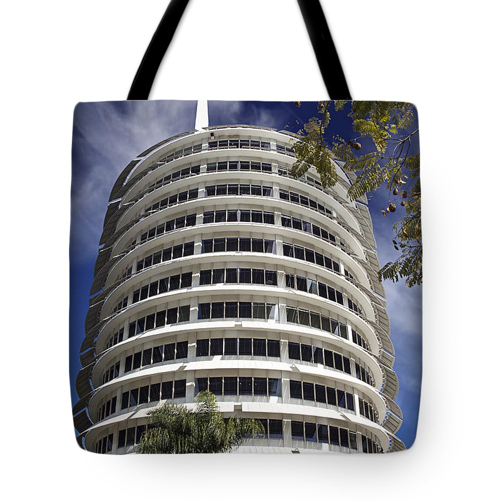 Endre Tote Bag featuring the photograph Capitol Records Building 2 by Endre Balogh