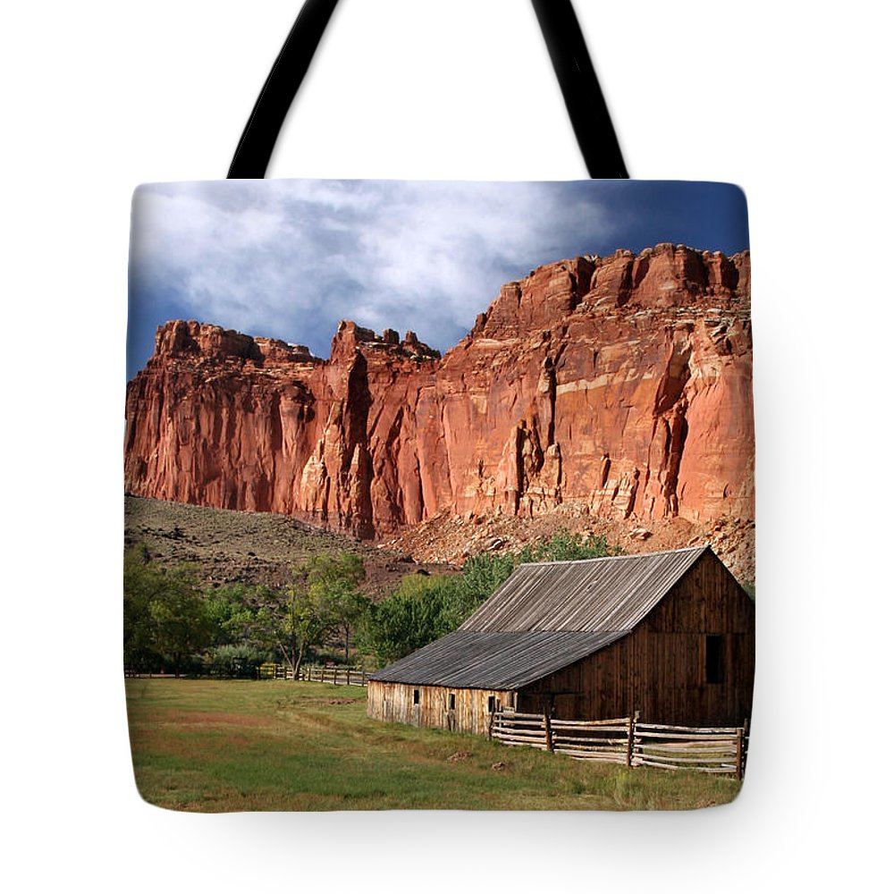 Capitol Reef Homestead Tote Bag featuring the photograph Capitol Reef Homestead by Wes and Dotty Weber