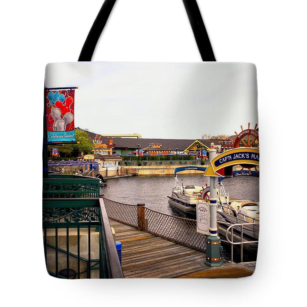 Captain Jacks Marina Tote Bag featuring the photograph Cap'n Jacks Marina Harbor Walt Disney World by Thomas Woolworth
